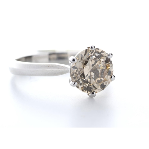 13103132 - Valued by GIE £62,995.00 - 18ct White Gold Single Stone Claw Set Diamond Ring 2.58 Carats, Colour-Fa...