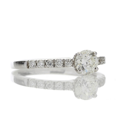 13113012 - Valued by GIE £4,880.00 - 18ct Single Stone Claw Set With Stone Set Shoulders Diamond Ring (0.52) 0....