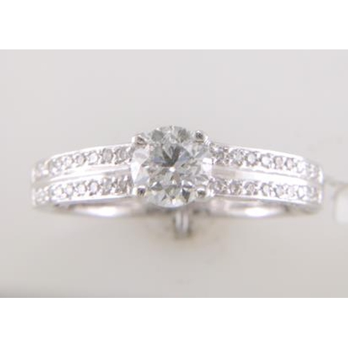 13113050 - Valued by GIE £16,315.00 - 18ct White Gold Single Stone Diamond Ring With Double Chanel Set Shoulder...