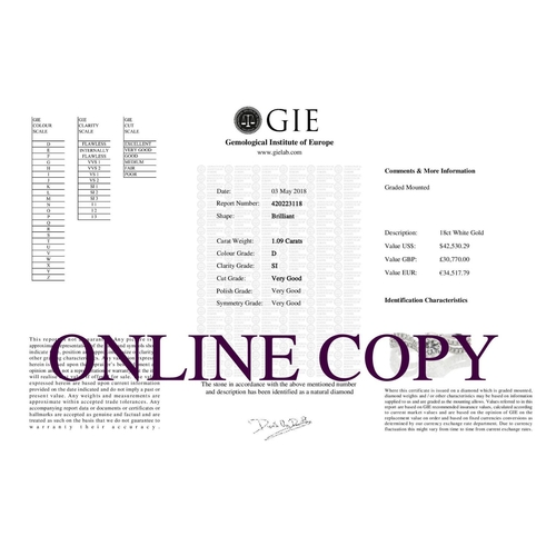 13113071 - Valued by GIE £30,770.00 - 18ct White Gold Solitaire Diamond Ring With  Two Rows Shoulder Set (1.09)...