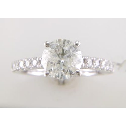 13113154 - Valued by GIE £36,455.00 - 18ct White Gold Single Stone Prong Set With Stone Set Shoulders Diamond R...