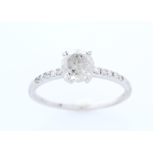 13113164 - Valued by GIE £10,805.00 - 18ct White Gold Single Stone Prong Set With Stone Set Shoulders Diamond R...
