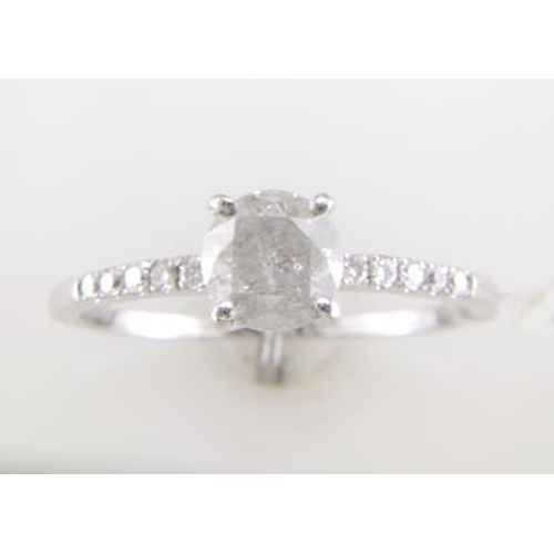 13113167 - Valued by GIE £10,479.00 - 18ct White Gold Single Stone Prong Set With Stone Set Shoulders Diamond R...