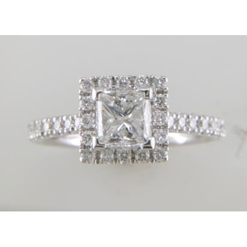 13124058 - Valued by GIE £31,230.00 - 18ct White Gold Single Stone Princess Cut With Halo Shoulders Stone setti...