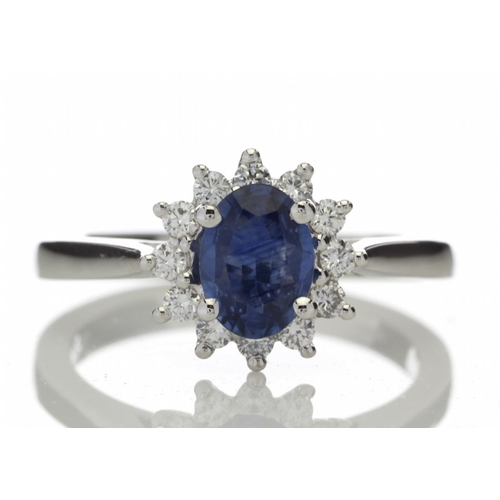 13180012P - Valued by GIE £9,630.00 - 18ct White Gold Diamond And Sapphire Cluster Ring 0.25 Carats, Colour-D, C...