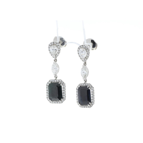 13299005P - Valued by GIE £39,995.00 - 18ct White Gold Diamond And Sapphire Earring (S7.35) 2.51 Carats, Colour-...
