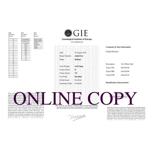 13493041 - Valued by GIE £50,959.00 - 18ct White Gold Tennis Diamond Bracelet 6.50 Carats, Colour-D, Clarity-VS...