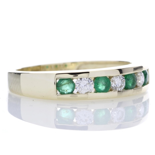 17154009E - Valued by GIE £2,635.00 - 9ct Yellow Gold Channel Set Semi Eternity Diamond And Emerald Ring 0.25 Ca...