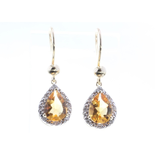 17280001C - Valued by GIE £1,890.00 - 9ct Yellow Gold Citrine Diamond Earring 0.13 Carats, Colour-D, Clarity-VS,...