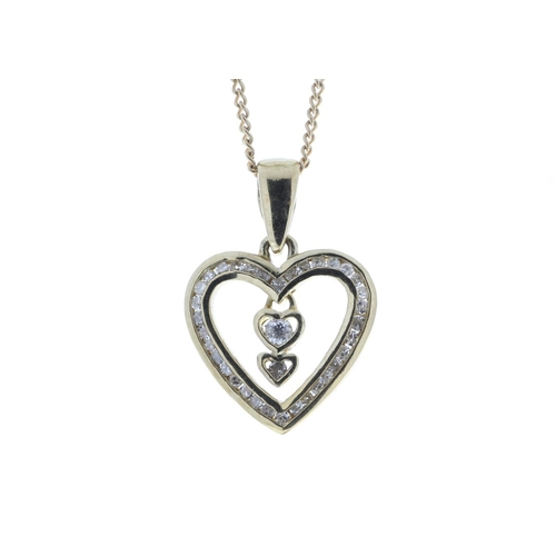 17380003 - Valued by GIE £1,740.00 - 9ct Yellow Gold Heart Pendant  Set With Diamonds & 2 Hanging Inner Hearts ...