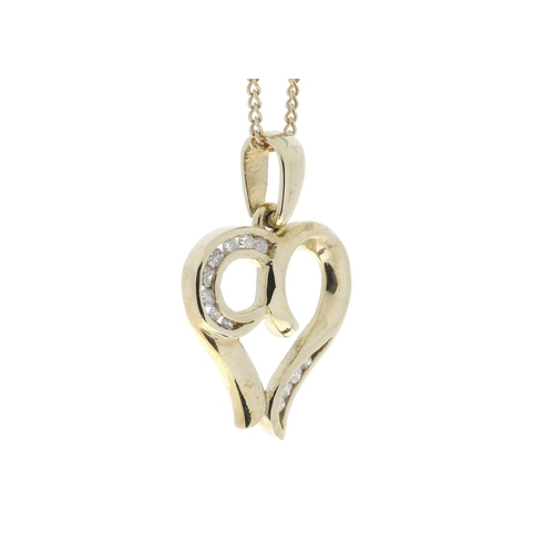 17380006 - Valued by GIE £1,520.00 - 9ct Yellow Gold Heart Pendant with Diamonds in Top & Bottom Cormer Swirls ...