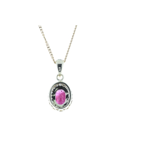 17380008R - Valued by GIE £1,997.00 - 9ct Yellow Gold Diamond And Ruby Pendant 0.11 Carats, Colour-D, Clarity-VS...