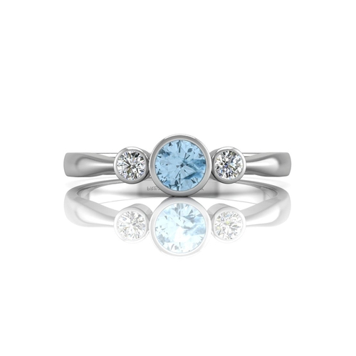 18136002L - Valued by GIE £1,459.00 - 9ct White Gold Three Stone Diamond And Blue Topaz Ring 0.10 Carats, Colour...