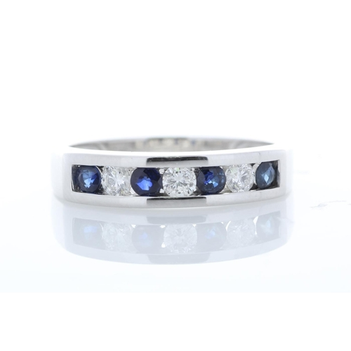18154013P - Valued by GIE £2,795.00 - 9ct White Gold Channel Set Semi Eternity Diamond And Sapphire Ring 0.25 Ca...