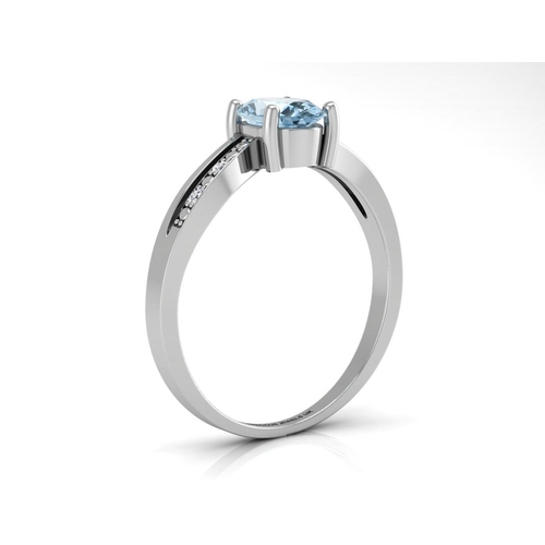 18180036L - Valued by GIE £989.00 - 9ct White Gold  Diamond And Blue Topaz Ring 0.20 Carats, Colour-D, Clarity-V...