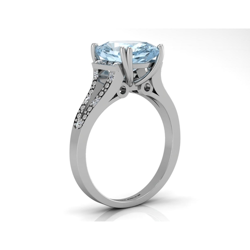 18180039L - Valued by GIE £2,639.00 - 9ct White Gold Diamond And Blue Topaz Ring 0.07 Carats, Colour-D, Clarity-...