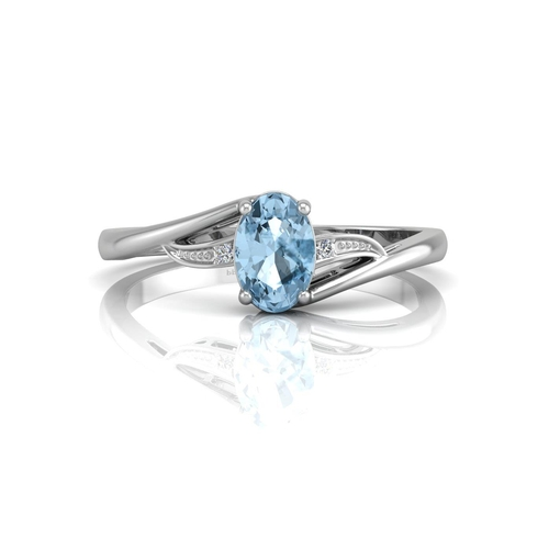 18180046L - Valued by GIE £881.00 - 9ct White Gold Fancy Cluster Diamond Blue Topaz Ring 0.10 Carats, Colour-D, ...