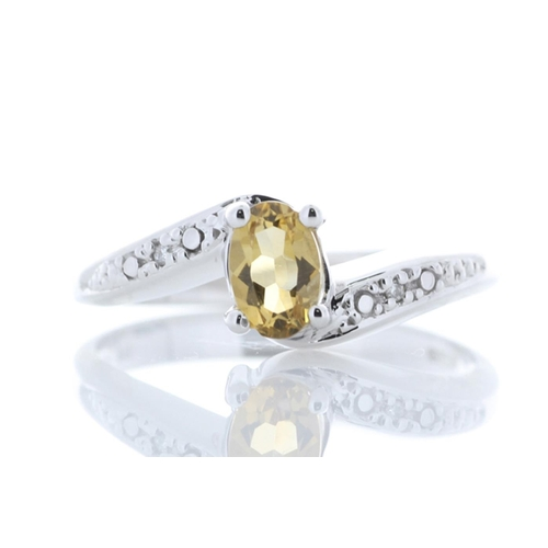 18180057C - Valued by GIE £1,232.00 - 9ct White Gold Diamond And Citrine Ring 0.01 Carats, Colour-D, Clarity-VS,...