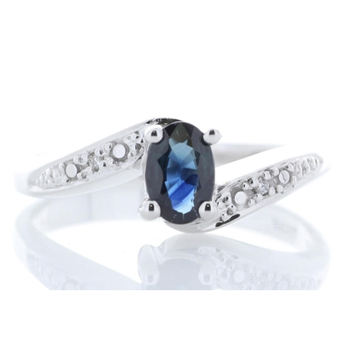 18180057P - Valued by GIE £1,779.00 - 9ct White Gold Diamond And Sapphire Ring 0.01 Carats, Colour-D, Clarity-VS...