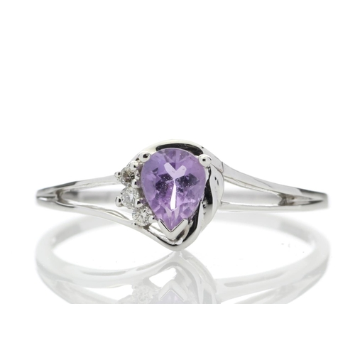 18180058A - Valued by GIE £859.00 - 9ct White Gold Amethyst Pear Shaped Diamond Ring 0.03 Carats, Colour-D, Clar...