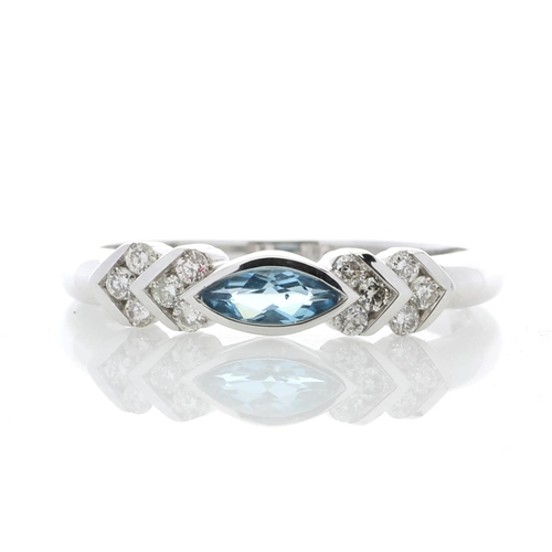 18180071L - Valued by GIE £2,070.00 - 9ct White Gold Diamond And Blue Topaz Ring 0.17 Carats, Colour-D, Clarity-...