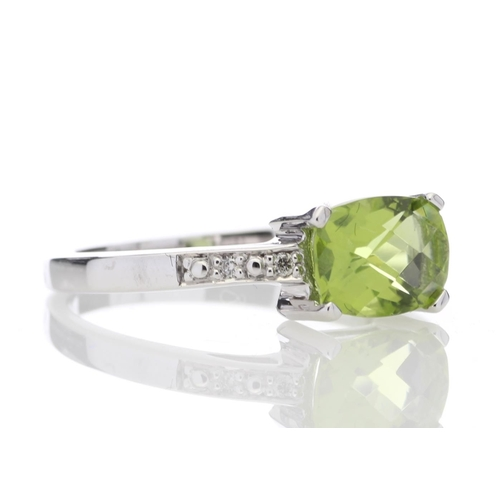 18180081D - Valued by GIE £1,190.00 - 9ct White Gold Peridot Diamond Ring 0.05 Carats, Colour-D, Clarity-VS, Cer...