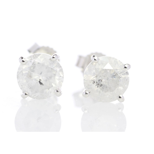 18203022 - Valued by GIE £19,750.00 - 9ct White Gold Single Stone Prong Set Diamond Earring 2.01 Carats, Colour...