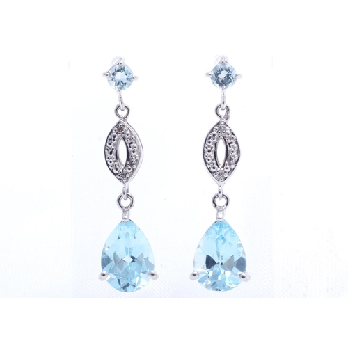18280014L - Valued by GIE £1,235.00 - 9ct White Gold Diamond And Blue Topaz Earring 0.02 Carats, Colour-D, Clari...
