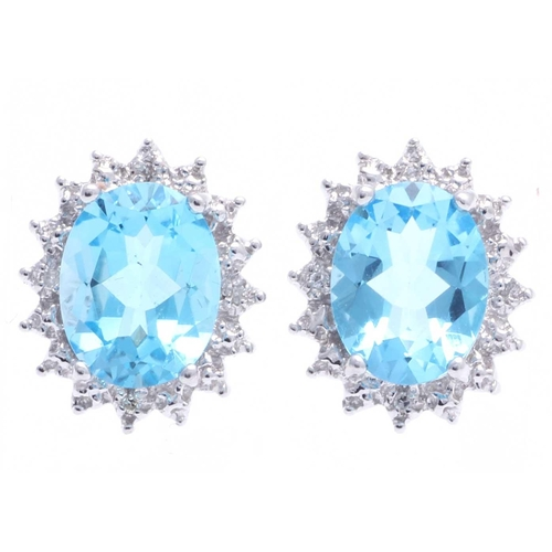 18280019L - Valued by GIE £1,919.00 - 9ct White Gold Diamond And Blue Topaz Earring 0.03 Carats, Colour-D, Clari...