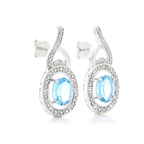 18280027L - Valued by GIE £1,960.00 - 9ct White Gold Diamond And Blue Topaz Earring 0.05 Carats, Colour-D, Clari...