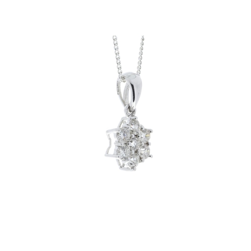 18380033 - Valued by GIE £3,230.00 - 9ct White Gold Diamond Flower Pendant 0.45 Carats, Colour-D, Clarity-VS, C...