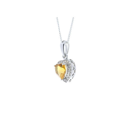 18380037C - Valued by GIE £1,020.00 - 9ct White Gold Citrine Heart Shape Diamond Pendant 0.10 Carats, Colour-D, ...