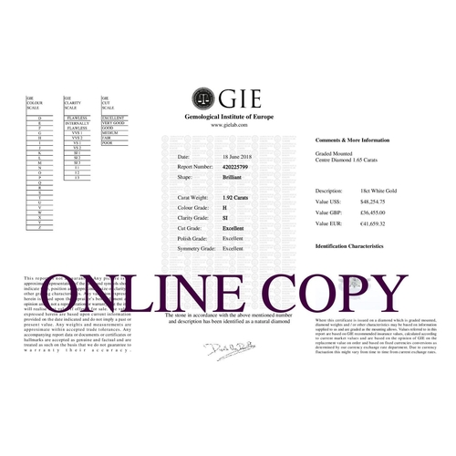 10 - Valued by GIE £36,455.00 - 18ct White Gold Single Stone Prong Set With Stone Set Shoulders Diamond R...