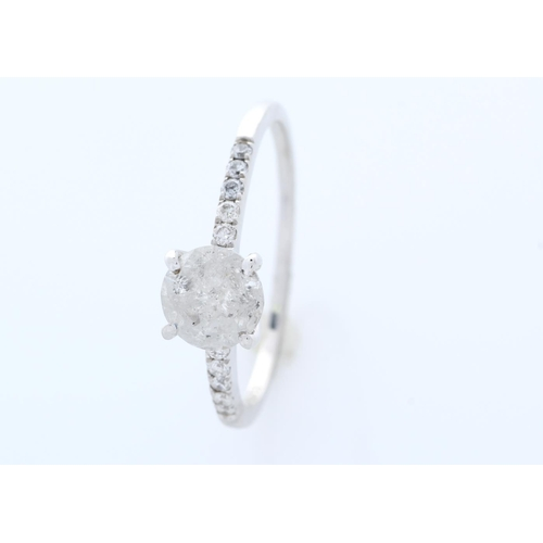11 - Valued by GIE £10,805.00 - 18ct White Gold Single Stone Prong Set With Stone Set Shoulders Diamond R...
