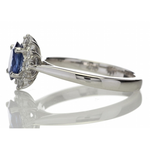 16 - Valued by GIE £9,630.00 - 18ct White Gold Diamond And Sapphire Cluster Ring 0.25 Carats, Colour-D, C...