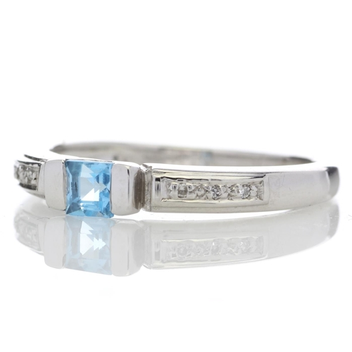43 - Valued by GIE £1,360.00 - 9ct White Gold Fancy Cluster Diamond Blue Topaz Ring 0.03 Carats, Colour-D...
