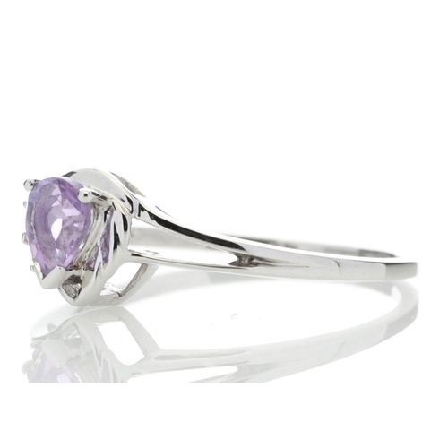 52 - Valued by GIE £859.00 - 9ct White Gold Amethyst Pear Shaped Diamond Ring 0.03 Carats, Colour-D, Clar...