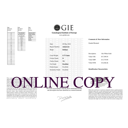 15 - Valued by GIE £12,735.00 - 18ct White Gold Three Stone Claw Set Diamond Ring 0.77 Carats, Colour-D, ...