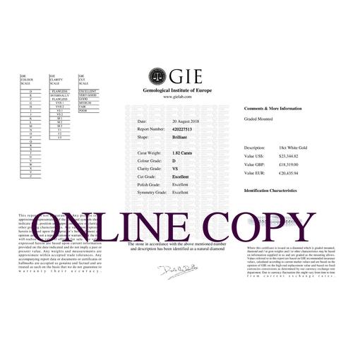 26 - Valued by GIE £18,319.00 - 18ct White Gold Tennis Diamond Bracelet 1.82 Carats, Colour-D, Clarity-VS...