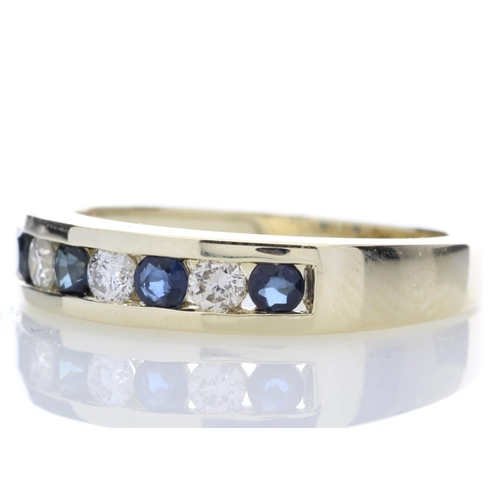 32 - Valued by GIE £2,635.00 - 9ct Yellow Gold Channel Set Semi Eternity Diamond Ring 0.25 (Sapphire) Car...