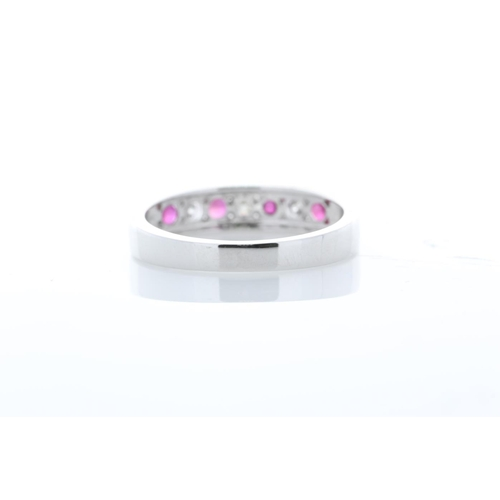 45 - Valued by GIE £2,889.00 - 9ct White Gold Channel Set Semi Eternity Diamond And Ruby Ring 0.25 Carats...