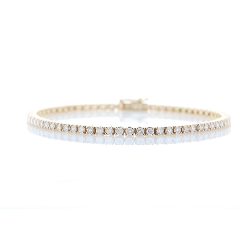5 - Valued by GIE £18,685.00 - 18ct Rose Gold Tennis Diamond Bracelet 1.99 Carats, Colour-D, Clarity-VS,...