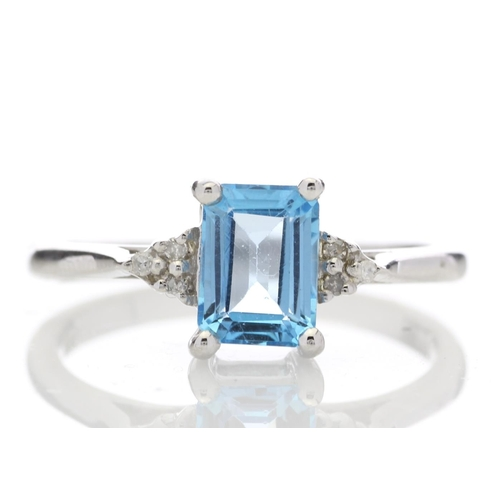 51 - Valued by GIE £810.00 - 9ct White Gold Diamond And Blue Topaz Ring 0.03 Carats, Colour-D, Clarity-VS...