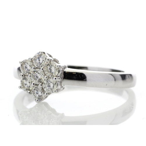 55 - Valued by GIE £4,169.00 - 9ct White Gold Diamond Cluster Ring 0.45 Carats, Colour-D, Clarity-VS, Cer...