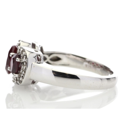 56 - Valued by GIE £2,900.00 - 9ct White Gold Created Ruby Diamond Cluster Ring 0.08 Carats, Colour-D, Cl...
