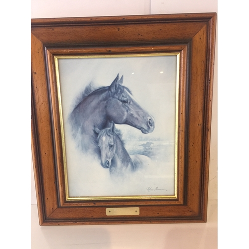 5 - Wooden framed picture of a horse...