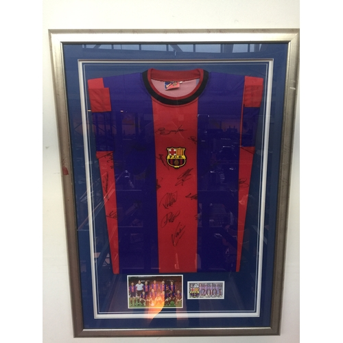 15 - FC Barcelona 2001 signed and framed football shirt...