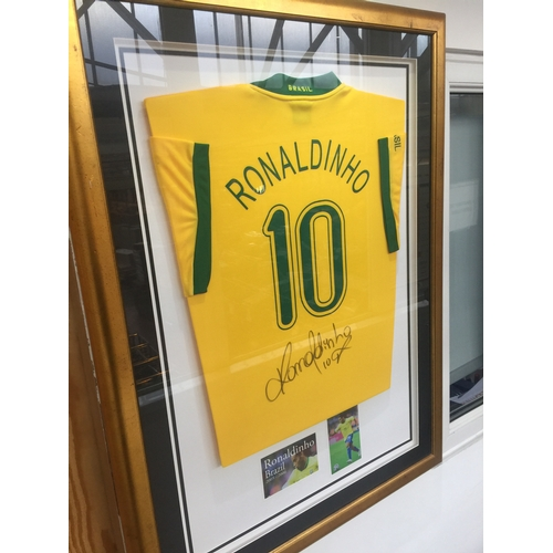 18 - Ronaldinho Brazil signed shirt, comemorting season 2005-2006...