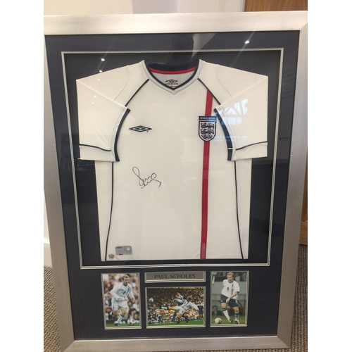 20 - Paul scholes, England signed and framed shirt...