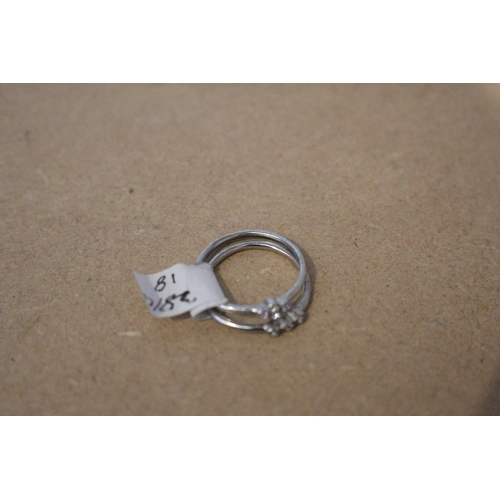 36 - 2 X SMALL SILVER DIAMOND EFFECT RINGS (EX73)...